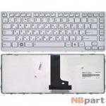 Клавиатура для Toshiba Satellite T230 серебристая с серебристой рамкой