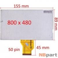 Дисплей 6.5 / шлейф 50 pin 800x480 (89x155mm) 3mm / ZE065NA-01B