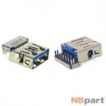 Разъем USB 3.0 / ниже середины / 16 x12mm / обратный / без юбки / голубой (014)