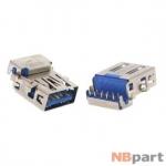 Разъем USB 3.0 / вровень по верху / 16 x12mm / прямой / без юбки / голубой (016)