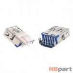 Разъем USB 3.0 / ниже середины / 16 x13mm / прямой / без юбки / голубой (018)