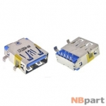 Разъем USB 3.0 / на плате / 15 x11mm / обратный / без юбки / голубой (021)