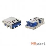 Разъем USB 3.0 / вровень по низу / 17 x13mm / прямой / без юбки / голубой (023)