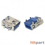 Разъем USB 3.0 / на плате / 15 x15mm / прямой / юбка / голубой (024)