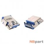 Разъем USB 3.0 / вровень по низу / 15 x10mm / обратный / без юбки / голубой (033)