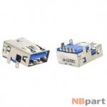 Разъем USB 3.0 / на плате / 15 x15mm / обратный / без юбки / голубой (038)