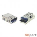 Разъем USB 3.0 / выше середины / 16 x12mm / прямой / юбка / голубой (039)