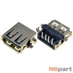 Разъем USB 2.0 / вровень по низу / 14 x10mm / обратный / юбка