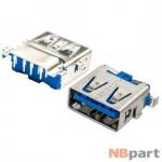 Разъем USB 3.0 / ниже середины / 16 x13mm / прямой / без юбки / голубой