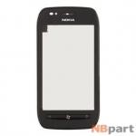 Тачскрин для Nokia Lumia 710 с рамкой черный (оригинал)